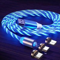 Flowing Light Charging Magnetic USB Type C Cable Micro Charger Wire for iPhone Huawei