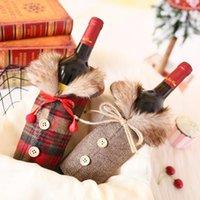 레드 와인 병 커버 와인 가방 삼 베 선물 활 모피 크로 셰 뜨개질 와인 천 가방 격자 무늬 병 홈 테이블에 대 한 크리스마스 장식 설정