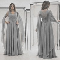 Party Dresses Vkiss StoreLong Mother Of The Bride Dress With Cape Silver Grey Chiffon Appliqued Lace Formal Evening Prom Gowns Wedding G