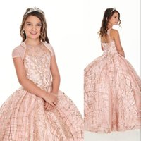 2021 Cute Rose Gold Sequined Lace Girls Pageant Dresses Crystal Beaded Blush Pink Kids Prom Dress Birthday Party Gowns For Little Girl With Jacket
