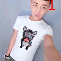 2021 Yeni Net Kırmızı Aynı Paragraf Kısa Kollu Erkek Ince Eğilim Yarım Kollu Köpek Kafası T-Shirt S88B