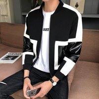 Épisses Hommes Cuir Veste Automne Slim Slim Contraste Couleur Hommes Veste Manteaux Haute Qualité Noir Gris Black Homme Moto Cuir