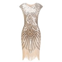 1920年代フラッパーグレートガツビーOネックキャップスリーブスパンコールフリンジパーティーミディヴェスディドデベラノ夏の女性ドレス210315