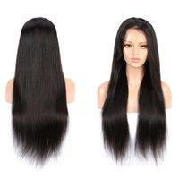 For Black Women 4x4 Front Lace Wig Straight Natural 1B Color Brazilian Peruvian Indian Malaysian Virgin Remy Human Hair Front Lace Wigs With Baby hair