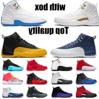 С коробкой 12 12s высококачественные баскетбольные туфли jumpman женщин мужские кроссовки каменные голубые атласные университетские золотые кроссовки