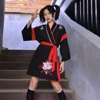 Japanese kimono vestido mujer negro blanco gato bordado dulce niña vintage asiático ropa Yukata haori cosplay party 2pieces conjunto
