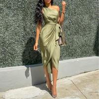 Vestido de ombro oblíquo vestido de correia irregular feminina para enviar festa de cinto longos vestidos sem mangas assimétricos