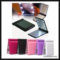 EPACE LED LED ماكياج مرآة مستحضرات التجميل 8 الصمام مرآة للطي المحمولة السفر المدمجة جيب مضغوط أضواء مصابيح