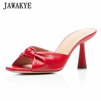 جديد bowknot النساء النعال عالية الكعب الصنادل مفتوحة تو معقود ديكور حزب أحذية أنيقة اللباس الرسمي الشرائح المدرج تصميم الأحذية أحذية رخيصة q8sv #