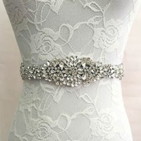 Slbridal Wedding Accessories Cristallo Cinturino Cintura da sposa in raso Strass Serata Prom Dress Belt Bridal Ribbon Sash Damigelle d'onore Donne
