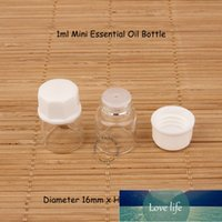 200pcs lot Wholesale 1ml Mini Glass Essential Oil Bottle Small Dropper Vial 1 30OZ Refillable Cosmetic Packaging Test Jar Factory price expert design Quality