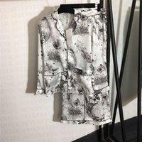 Designer impresso womens sleepwear seda pijama pijama conjunto moda casual senhora casa vestuário longo manga camisa calça duas peças