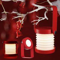 크리스마스 LED 나무 손잡이 휴대용 랜턴 램프 접는 USB 충전식 테이블 램프 밤 빛 읽기 책상