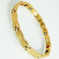 رابط، سلسلة الرجال جودة الذهب مطلي سوار الصلب سوار المرأة الرعاية الصحية الطاقة المغناطيسي اليد مجوهرات الهدايا الصداقة