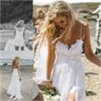high Spaghetti new beach wedding dresses Sexy Backless low-income summer Chiffon wedding dresses ivory white ACO8