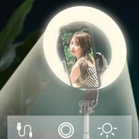 Sem fio Bluetooth selfie vara diodo emissor de luz do diodo emissor de luz da luz de selfie vara led anel de lâmpada monopods dobrável universal com controle remoto
