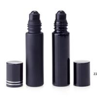 سميكة جدار من الضروري زجاجة عطر النفط 10ML الزجاج الأسود لفة على زجاجة العطور مع سبج الكريستال الأسطوانة HWE8146