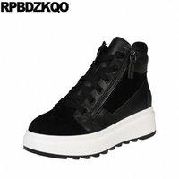 Новые круглые туфли на платформе с круглым носком натуральная кожа переднего кружева повседневные ботинки на лодыжках осенью женщин Flatform черные высокие качественные пинетки D8AU #