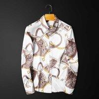 Keychain Belt Printed Shirt Men New Mens Casual Slim Fit Chemise Homme Manche Longue Plus Size 5xl Button Up Club Shirt 210610