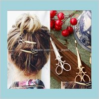 Cool Simple Head Jewelry Hair Pin Gold Scissors Shears Clip For Hair Tiara Barrettes Accessories Wholesale Small Gifts Shipping Vmsje Opjrt