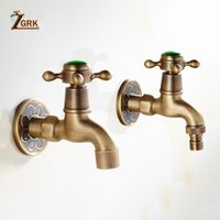 Bathroom Sink Faucets ZGRK Brass Wall Mounted Dragon Carved Tap Faucet Garden Bibcock Washing Machine Outdoor Single Cold