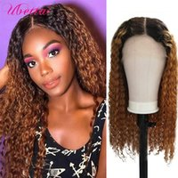 Lace Wigs Highlight Curly T Part Frontal Human Hair Wig Brown Ombre Front Brazilian Kinky Deep Wave Long Wavy