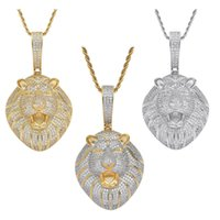 18k gold Lion Necklace jewelry set Bling Diamond Cubic zircon animal head pendant hip hop necklaces with stainless steel chain for women men will and sandy dropship