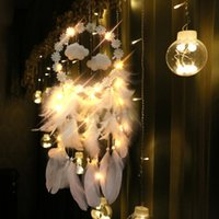 Decorative Objects & Figurines Feather + Cloud Dream Catcher Wind Chimes Hanging Ornaments LED Lights Up Lace Ribbons Dreamcatcher Girls Roo