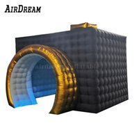 High Quality Customized Portable Backdrop Tent Dome Inflatable Photo Booth with LED Strip Lights color changing For Sale
