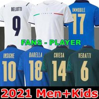 المشجعين مشغل 2021 إيطاليا Soccer Jersey Immobile Belotti Jorginho Insigne Verratti Bernardeschi Locatelli Men Kids 20 21 Football Shirts Chiesa Barella Berarri