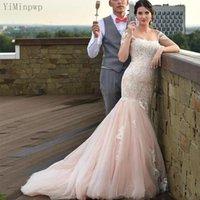 Pink Mermaid Wedding Dresses 2021 Off Shoulder Sweep Train Lace up Back White Appliques Bridal Gowns vestidos de novia Plus Size Customized