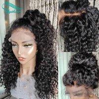 Bythair 13x6 HD Şeffaf Dantel Ön İnsan Saç Peruk Brezilyalı Uzun Kıvırcık Peruk Bebek Saçları Ile Ön Kupalı Saç Hızı Doğal Siyah Renk Kadınlar Için