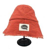 Amplia sombreros de ala XEONGKVI Japanese Hello Carta de tela Sombrero Sombrero Spring Otoño Marca Playa Pescador plegable para las mujeres Encantador