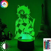 Night Lights Demon Slayer Kimetsu No Yaiba Tanjiro Kamado Figure 3D Lamp For Child Bedroom Decor Nightlight Kids Led Light Gift