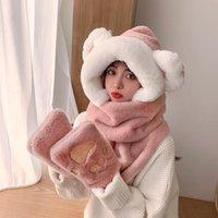 Hats, Scarves & Gloves Sets 2021 Winter Hat Cute Cartoon Bear Scarf Cap Glove Three-piece Women Autumn Fashion Fur Plush Bib Set