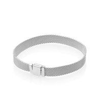 Nova Forma Relógio Strap Homens Mulheres Mão Cadeia Reflexões Pulseira Set Caixa Original para Pandora 925 Braceletes de Prata Esterlina