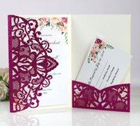 شخصية بطاقات دعوة الزفاف مجموعة كاملة الليزر قطع جوفية خارج بطاقات المعايدة جيب الاشتباك حفل الزفاف عيد ood5513