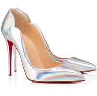 완벽한 디자이너 뜨거운 병아리가 뾰족한 발가락 여성의 붉은 바닥 펌프 누드 검은 신부 웨딩 파티 여성 섹시한 레이디 레드 솔 하이힐 EU35-4