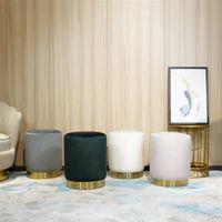 Living Room Furniture FCH Ottoman Set Round Velvet Footrest Modern Vanity Stool Seat Bedroom