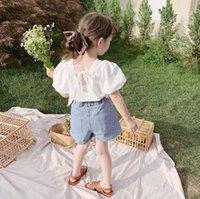 Summer kids clothing sets girls back ribbon lace-up Bows puff sleeve blouse+double pocket denim shorts 2pcs children princess outfits Q0277