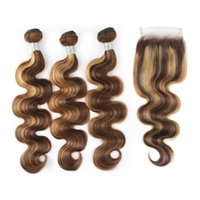 Ismowow Highlight 4/27 Paquetes de cabello humano con extensiones de cabello virgen de onda corporal de cierre 3 / 4pcs con cierre de encaje.