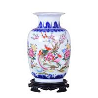 Mavi ve Beyaz Seramik Vazo Pheonix Porselen Çiçek Antik Çin Figürü Hikayesi Desen Vazo El Yapımı Jingdezhen Çiçek Vazolar