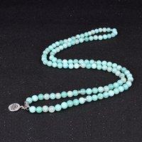 Perlen, Strangs 108 Mala Armbänder Halsketten für Frauen Semi-Edelsteine Yoga Armband Pulsera Lotus Charm Multilayer Schmuck