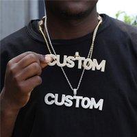 Custom Name Baguette Zircon Letters Pendant Necklace Gold Color Men's Hip Hop Rock Jewelry Gift