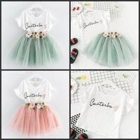 جديد طفل الفتيات ملابس الاطفال إلكتروني مطبوعة تي شيرت مع زهرة زين و الشيفون تنورة الصيف ملابس الأطفال مجموعة 307 Y2
