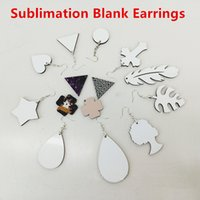 Sublimation Blank Earrings Heat Transfer Earrings White Sublimation Wooden Earrings with Wire Hook for DIY Crafts Making Supplies