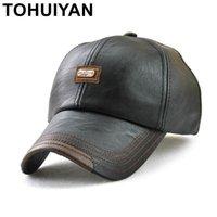 Gorras de pelota tohuiyan 2021 vintage tapa de cuero para hombres otoño invierno casquette béisbol casual chapeau papá sombrero hueso masculino gorra hombre