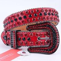 Ремни натуральная кожа красный горный хрусталь ремень роскошный дизайнер Cowboy Bling Dimond усеян для женщины Cinturones Para Hombre