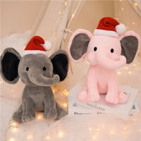 dhl الاطفال الفيل بلوحة اللعب مع عيد الميلاد قبعة لينة وسادة محشوة الكرتون الحيوانات لينة دمى اللعب الاطفال النوم عودة وسادة الأطفال هدية عيد