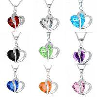 10 farben luxus österreichische kristall halsketten frauen strass herz geformte anhänger silber ketten choker modeschmuck geschenk bulk 151 r2